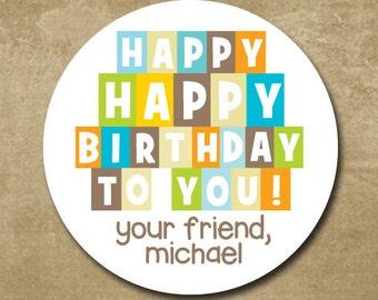 birthday stickers, Happy Birthday To You, Round Gift Labels, Birthday Favor Stickers, Boy Birthday Gift Tags