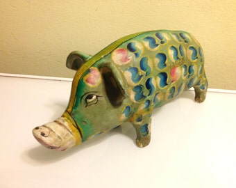 Large Antique Nadeau Painted Heavy Ceramic Piggy Bank Free Shipping