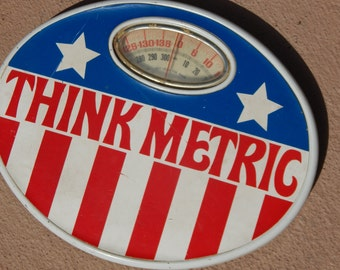 Vintage 1970's Retro Bathroom Scale Think Metric Red White and Blue