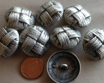 """Lot of 8 Large Domed Matte Silver Tone Metal Woven Look Buttons 1 1/8"""" 28mm # 7380"""