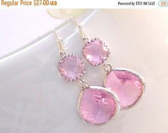 SALE Wedding Jewelry, Pink Earrings, Silver, Soft Pink, Light Pink,Bridesmaid Earrings,Bridesmaid Gifts,Bridesmaid Jewelry,Dangle,Wedding Gi