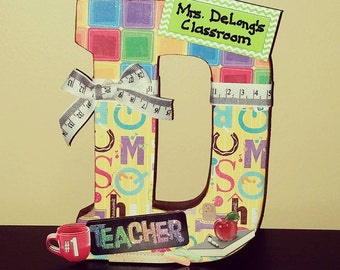 "8"" Paper Mache Teacher's Classroom Custom Letter"