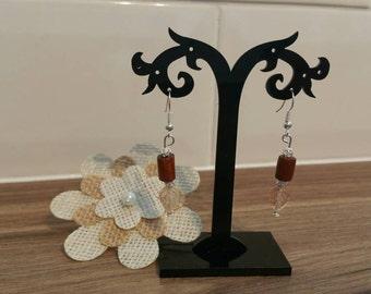 Wood and glass drop earrings.