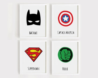 Printable Nursery Art Set of 4 Poster Batman Captain america Superman Hulk art kids room Wall art Child room print INSTANT DOWNLOAD