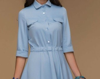 Casual Blue Jeans Dress.Street Fashion Flared Dress Shirt Collar