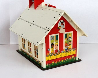 Fisher Price School House, Classic 1971 Little People One Room School House, Vintage School, Ringing Bell
