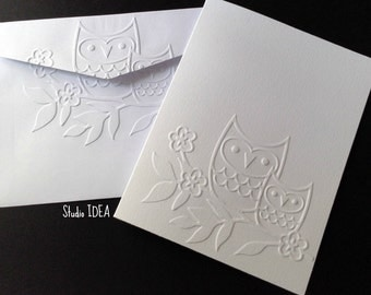 Owls on Twig Embossed Cards - Set of 4 white A2 embossed cards or Choose Your Colors-EC007