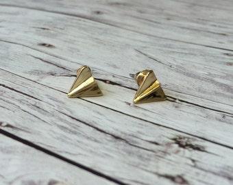 Origami earrings - gold earrings paper flyer