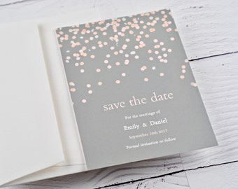 Wedding Save the Date, Blush and Grey, Confetti, Bokeh - SAMPLE
