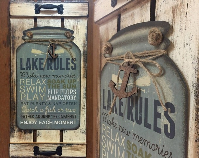 Lake Rules SIGN Mason Canning JAR Reclaimed Cabin Lodge Lake Flip Flops Memories Home Families Happiness Country Distressed Wood Wall Decor