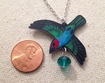 Hand Drawn Flying Bay-headed Tanager (Tangara gyrola) Charm Necklace