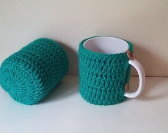 Crochet mug cozy, coffee cup cozy, mug crochet cozy. Set of 2 tea cup cozy, ready to ship