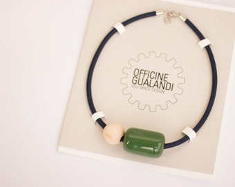 Ceramic necklace, olive green glaze, wooden ball with blue electric cable