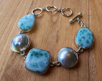 """Larimar and Pearl Link Bracelet // 925 Sterling Silver // Toggle Clasp // 7""""- 8""""1/2 Inches Length"""