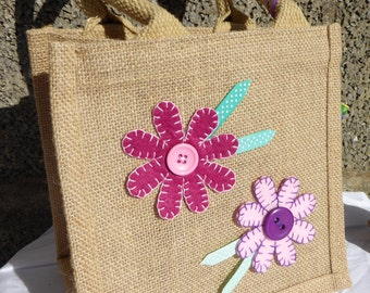 Handcrafted Pink Daisy Small Hessian Bag