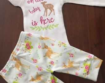 Oh deer. Baby girl. Baby girl deer. Deer baby. Hunting baby. Deer outfit. New baby. Baby shower.