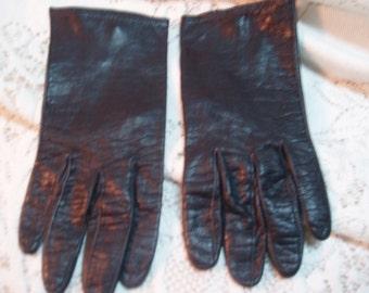 Black leather short gloves