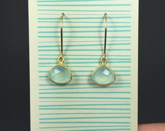 Blue Chalcedony Teardrop Earrings with 14k Gold Filled Wire