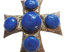 Gold Maltese Cross Style Brooch/Pin Vintage 1960