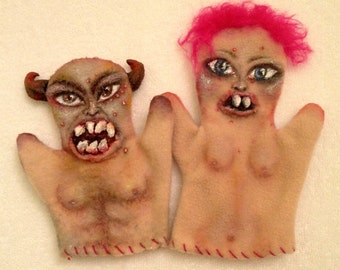 Bisque and Jamface - Demon Hand Puppets, Creepy, Weird, Handmade Toy