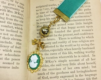 Seafoam Green Velvet Gold Oval Cameo Bookmark, Victorian Style, Mother's Day Gift, Birthday #A08