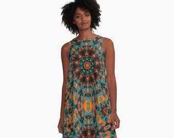 ADOBE  A-Line Swing Dress XS S M L XL 2XL Trapeze Dress Orange Turquoise Blue Abstract Art Tie Dye Clothes WomanTeen Wearable Art Clothing