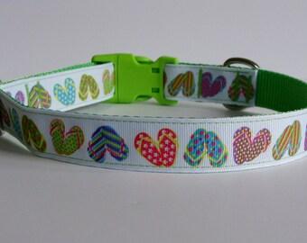 Flip Flop Lime Green Beach Dog Collar - Ready to Ship!