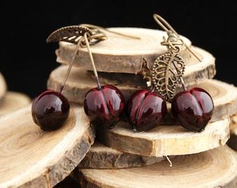 Earrings cherry bigarreau - Couleur-lavande polymer clay jewelry