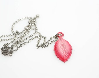Pink Leaf Mary Necklace