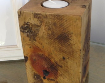 Palette wood candlestick