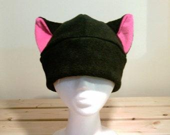 Black Cat Hat - Children Hat - Pink Cat Ears - Fleece Kitty Cat Hat - Cosplay Hat - Anime Hat - Halloween Hat - Manga Hat - Newborn Cat hat