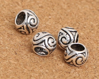 6 Sterling Silver Spiral Rondelle Bead for European Bracelet, 4.5mm Hole Rondelle Sterling, 925 Silver Rondelle Bead, Spacer Bead - E388