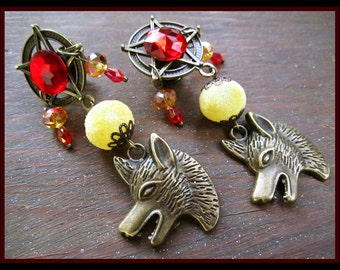 "The Cursed One stretched dangle wolf EAR PLUG horror earrings pick the gauge size 2g, 0g, 00g, 7/16"", 1/2"", 9/16"" aka 6, 8, 10mm, 12mm, 14mm"