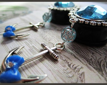 "The Blue Sea EAR PLUGS Anchor dangle earrings pick gauge 7/16"", 1/2"", 9/16"", 5/8"", 11/16"", 7/8, 1"" aka 12, 14, 16, 18, 22, 25mm"