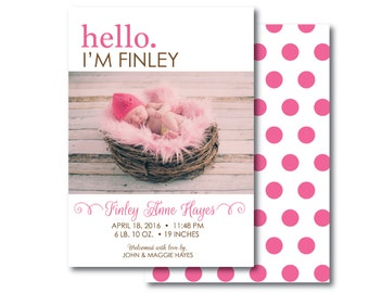 Photo Birth Announcement - 5x7 front and back - customer - printable - Hello