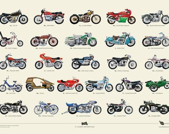 A to Z of Classic Motorbikes A2 Print