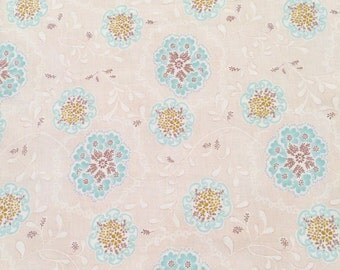Beige and Turquoise Damask Cotton Fabric