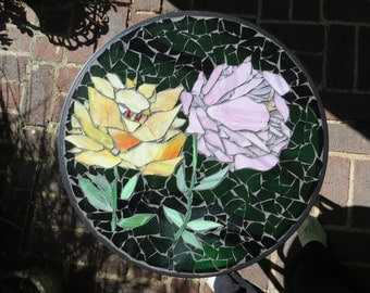 Peony stained glass mosaic patio table. Stained glass mosaic side table. Mosaic table. Stained glass garden table..