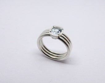 Aquamarine in conical set, ring, birthday, confirmation, summer, 3xring