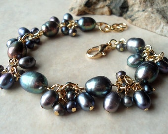 Tahitian Black Pearl Cluster Bracelet.Wedding.24K Gold Plate.Beadwork.Bridal.Valentine.Birthday.Mother's.Prom.Dainty.Gift.Luxe.Handmade.