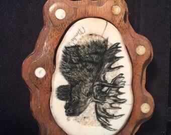 Vintage Moose Belt Buckle Made in Alaska 1990 Signed C. Choules