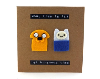 Adventure Time birthday or anniversary or wedding card - Finn & Jake felt style!