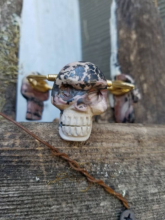 Sale****Skull, Natural Stone, Wire Bangles, Stackable Bangles, Bracelets, Accessories, Jewelry