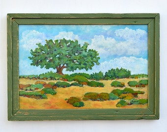 """Desert Shade. Scenic landscape painting by Robert Price. 16""""x 24 Colorful impressionist style.  Original southwest landscape painting. #129"""
