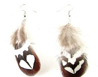 Brown White Silver Real Pheasant Feather Earrings Festival Boho Drop Dangle 8AS