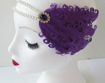 Purple Feather Headpiece Vintage 1920s Flapper Pearl Headband Great Gatsby L30