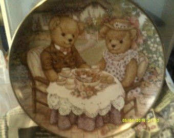 Franklin Mint Teddy Bear Collectible Plate (Tea for Two)
