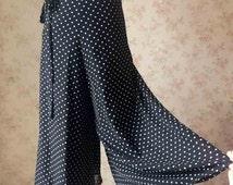 Black High Waist Wide Leg Pants black chiffon pants Women Trousers. black Polka Dot Wide leg pants. summer vintage style - plus pants(WP06)