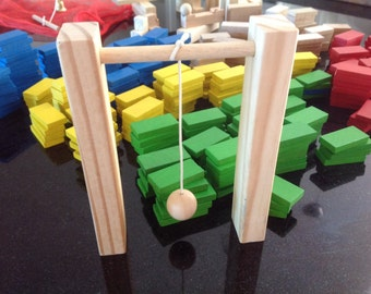 Wooden Blocks 374 pieces with Mesh Bag