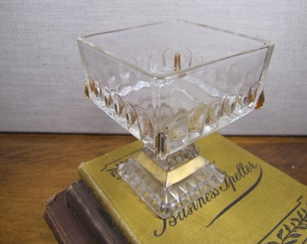 Square Glass Compote Dish - Footed - Gold Accents